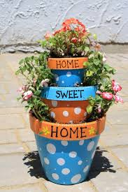 Small Flower Pot by Front Porch Cute Stacked Flowers Pots With Blue And Orange Polka