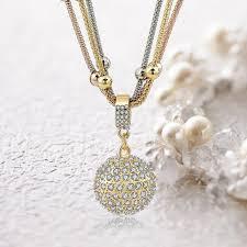 rhinestone pendant necklace images 2 sets of gold ball necklace with rhinestone pendant necklace jpg