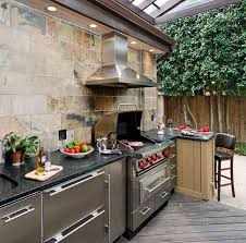 exteriors enjoyable outdoor kitchen decor with l shape red brick
