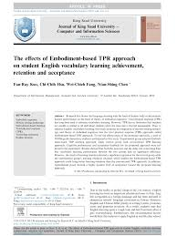 the effects of embodiment based tpr approach on student english