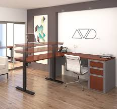 L Shaped Adjustable Height Desk by Amazon Com Bestar Connexion L Desk Including Electric Height