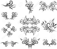 set of caligraphic ornaments vector format very easy to edit