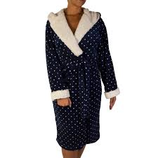 dressing gown tru luxury plush sherpa trim navy design dressing gown tj