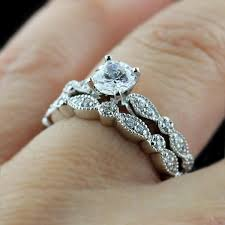 vintage wedding ring sets cut diamond vintage wedding ring set in white gold jewelocean
