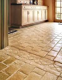 travertine and glass tile backsplash kitchen with granite brown