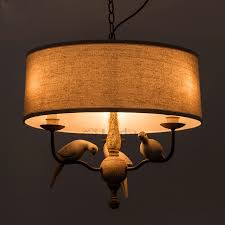 Drum Shade Pendant Light Fixture 3 Light Birds Decoration Drum Shade Pendant Light