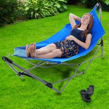 Portable Hammocks Portable Hammock With Frame Stand And Carrying Bag Blue Bj U0027s