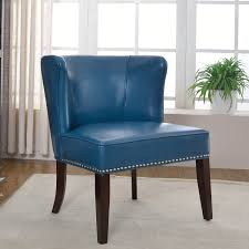 Blue And White Accent Chair Light Blue Leather Accent Chair With Back And Four Dark Chocolate