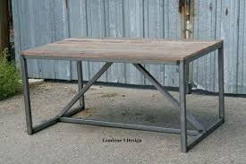 reclaimed wood outdoor table industrial style outdoor furniture modern dining table desk made of