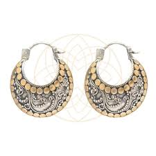 gold plated earrings balinese mixed silver and gold plated earrings mukthaa