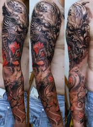 dragon tattoo arm male tattoo ideas barbed wire weapons skulls and the devil