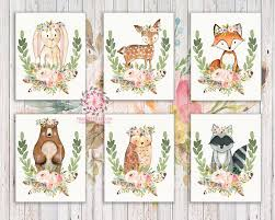 Fox Home Decor Set Lot Of 6 Woodland Boho Bohemian Feather Floral Nursery Baby
