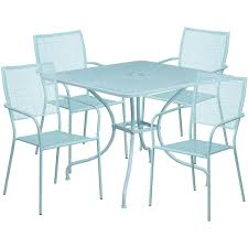 Steel Patio Table 35 5 Square Sky Blue Indoor Outdoor Steel Patio Table Set With 4