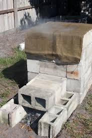 concrete block smoker smoking in progress