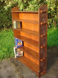 Arts Crafts Bookcase Red House Antiques Large Arts U0026 Crafts Carved Oak Pegged Bookcase