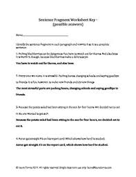 sentence fragments worksheets quizzes and answer keys by laura