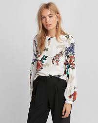 dress blouses for wedding floral keyhole puff sleeve blouse express