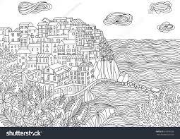 coloring monterosso al mare italy stock vector 610016339