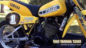 vintage motocross bikes sale 1980 yamaha yz465 under 10 starts on rebuild vintage mx dirt bike