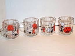 Halloween Cups Set Of 4 Vintage Luminarc Glass Halloween Cups Mugs Trick Or Treat