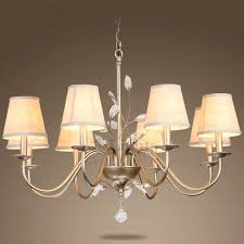 Chandelier Rustic Rustic 8 Light Fabric Shade Iron And Chandelier For Bedroom