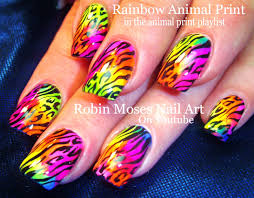 diy rainbow nails animal print easy summer neon nail art
