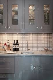 using high gloss paint on kitchen cabinets gray butler s pantry glass front uppers grid backsplash
