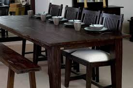 Large Rectangular Rustic Dining Table Dark Wood Finish Teak
