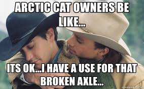 What Is An Exle Of A Meme - arctic cat owners be like its ok i have a use for that broken