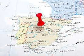 madrid spain map a map pin pointing at madrid spain stock photo picture and