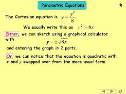 parametric equations thursday 21 january parametric equations the