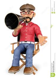 chaise de realisateur réalisateur 3d s u0027asseyant dans sa chaise avec un mégaphone