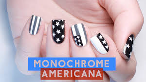 monochrome americana 4th of july nail art youtube
