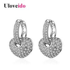 detachable earrings uloveido earrings for women heart earings with stones silver color