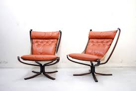 norwegian falcon cognac leather lounge chairs by sigurd ressell