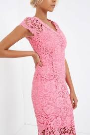 Paper Dolls Pink Crochet Lace Pencil Dress Paper Dolls From