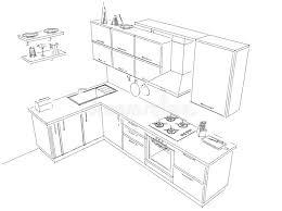 disposition cuisine esquissez le dessin de disposition de noir et blanc intérieur de la