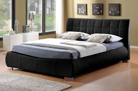 King Size Leather Bed Frame Time Living Durham 5ft Kingsize Black Faux Leather Bed Frame By