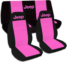 pink jeep 2 door jeep wrangler yj tj jk 1987 2017 two tone seat covers w logo full