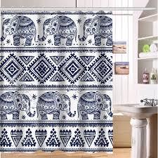 Shower Curtain Custom Custom Shower Curtain Elephant Art On Aztec Art Home Fabric Modern
