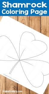 free shamrock coloring page for kids trail of colors