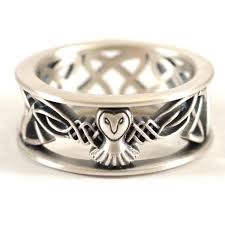 Etsy Wedding Rings by Sterling Silver Owl Wedding Band Celtic Owl Ring Mens Wedding