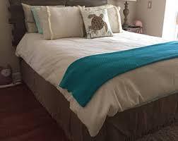 Burlap Bed Skirt Farmhouse Bedskirt Etsy