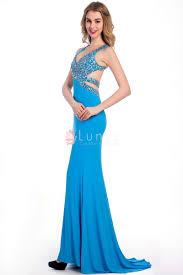 timeless pool blue chiffon rhinestone sleeveless long formal prom