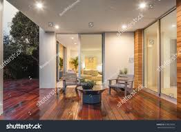 wooden deck balcony night furniture open stock photo 535657693