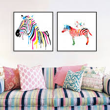 online get cheap zebra print room decor aliexpress com alibaba modern minimalist animals colorful zebra canvas large art print poster abstract wall picture living room decor