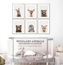 animal nursery prints woodland baby wall art woodland zoom