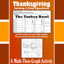 turkey bowl a math then graph activity solve 2 step equations
