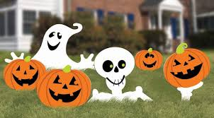 halloween yard flags amazon com family friendly skeleton and ghost corrugate yard