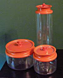 orange kitchen canisters vintage tupperware set of 3 clear plastic canisters w orange push